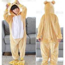 Kinder Bär gelb Jumpsuit Schlafanzug Kostüm Onesie