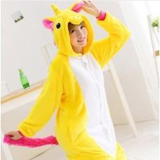 Einhorn gelbweiss Jumpsuit Schlafanzug Kostüm Onesie