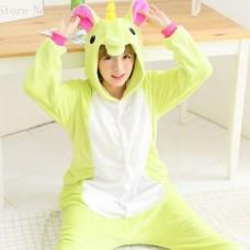 Einhorn grünweiss Jumpsuit Schlafanzug Kostüm Onesie