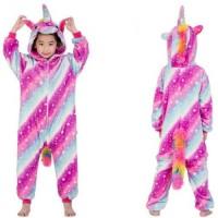 Kinder Einhorn Streifensterne bunt Jumpsuit Schlafanzug Kostüm Onesie