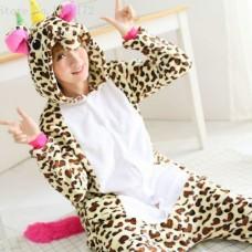 Einhorn Leopard Jumpsuit Schlafanzug Kostüm Onesie