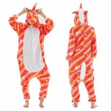 Einhorn orangegelb Jumpsuit Schlafanzug Kostüm Onesie