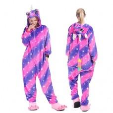 Einhorn pinkviolett Jumpsuit Schlafanzug Kostüm Onesie