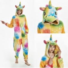 Einhorn Regenbogensterne Jumpsuit Schlafanzug Kostüm Onesie