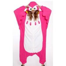 Eule Uhu pink Jumpsuit Schlafanzug Kostüm Onesie