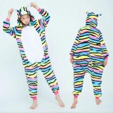 Kinder farbige Katze Jumpsuit Schlafanzug Kostüm Onesie