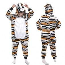 Kinder braun gestreifte Katze Jumpsuit Schlafanzug Kostüm Onesie