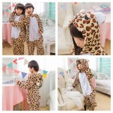 Kinder Leopard Jumpsuit Schlafanzug Kostüm Onesie