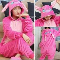 Lilo und Stitch pink Jumpsuit Schlafanzug Kostüm Onesie