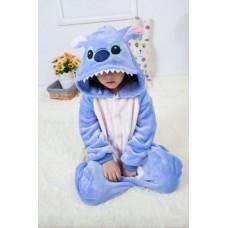 Kinder Lilo und Stitch blau Jumpsuit Schlafanzug Kostüm Onesie