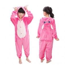 Kinder Lilo und Stitch pink Jumpsuit Schlafanzug Kostüm Onesie